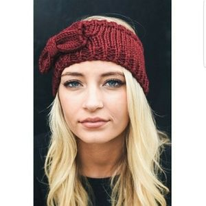 Burgundy Bow Knit Headband
